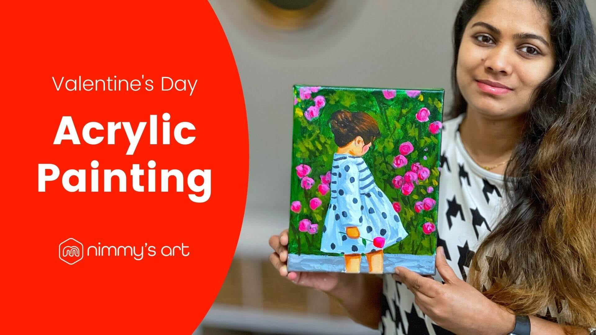 Valentine's day painting at free online art class by Nimmy's Art in Katy, Texas
