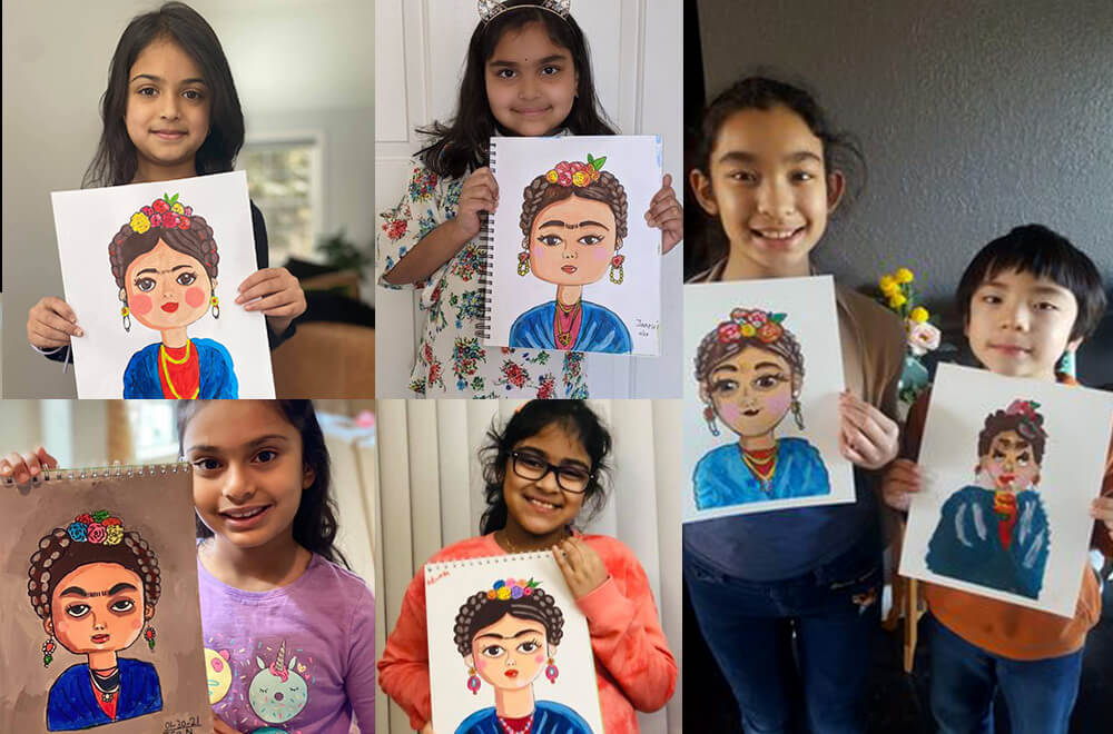 Frida Kahlo portraits created in acrylic by some students at Nimmy's Art online art classes at Katy, Texas