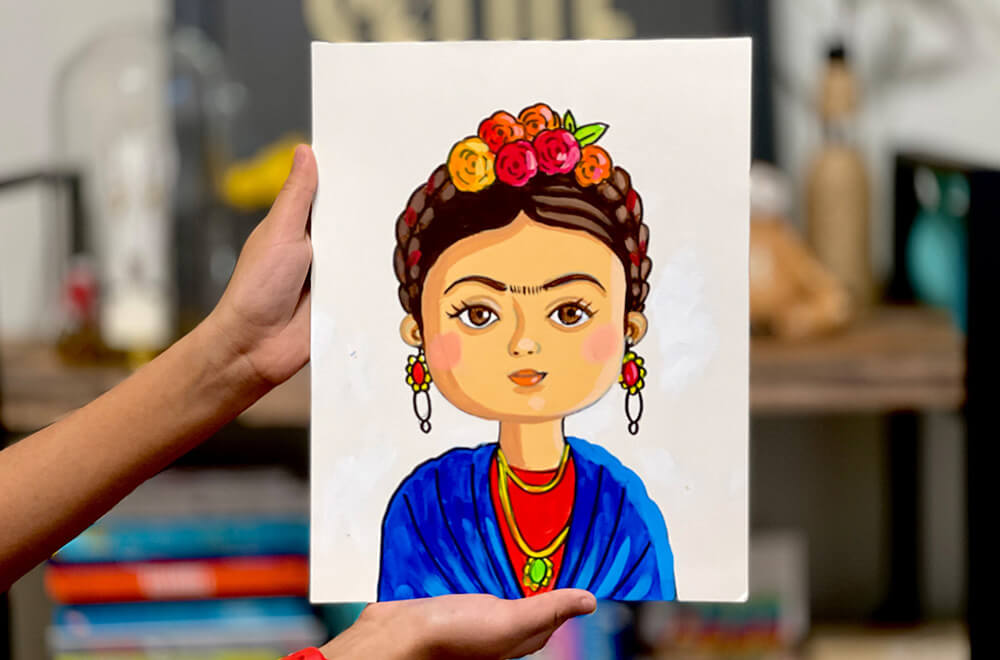 Frida Kahlo Portrait painting for Kids in acrylic completed in Nimmy's Art online art classes at Katy, Texas