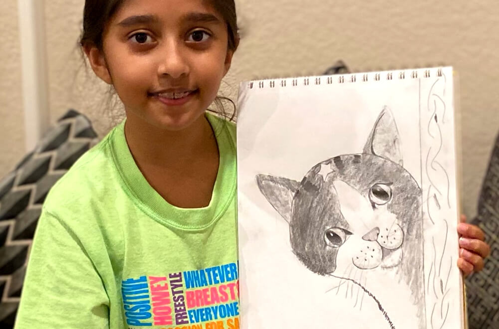 Pencil sketching and shading of a cat by Prisha completed at the online art classes by Nimmy's Art in Katy, Texas