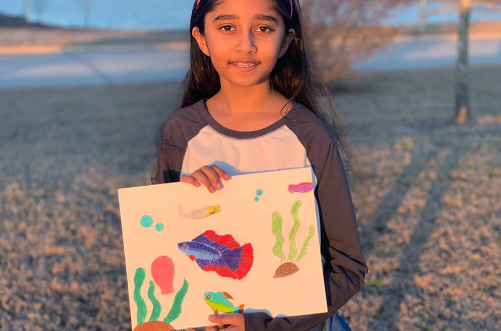 Beta fish in Prisma colors by Prisha completed at the online art classes by Nimmy's Art in Katy, Texas