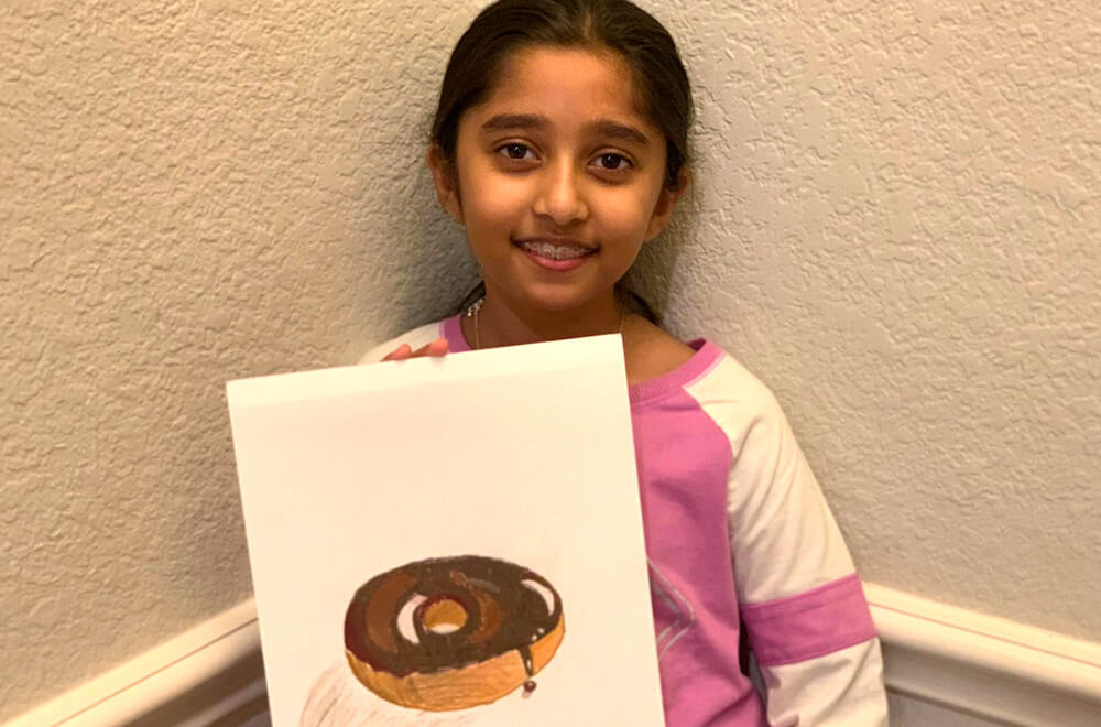 Donut in Prisma colors by Prisha completed at the online art classes by Nimmy's Art in Katy, Texas