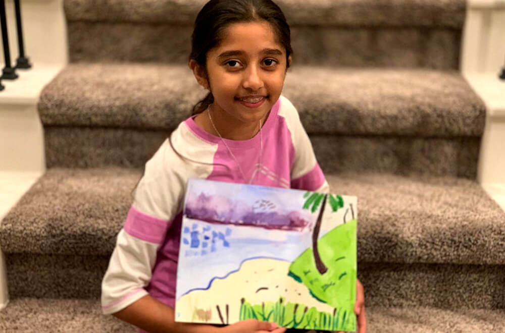 Landscape painting in watercolors by Prisha completed at the online art classes by Nimmy's Art in Katy, Texas