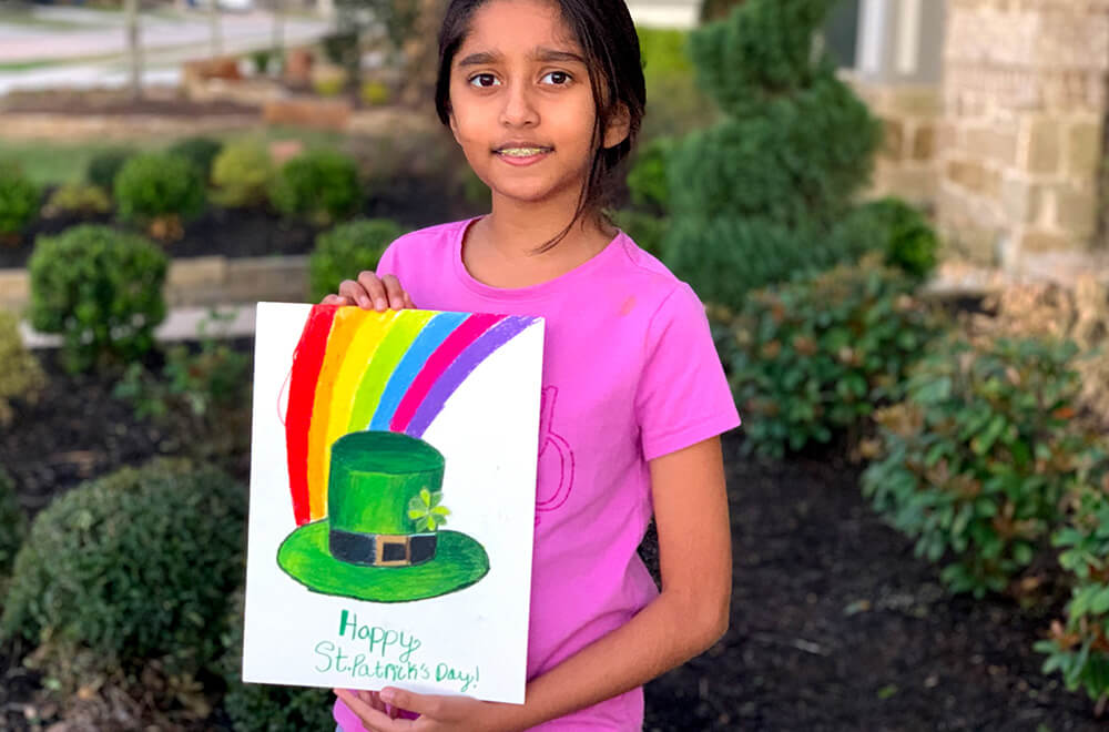 St' Patrick's day special prisma art by Prisha completed at the online art classes by Nimmy's Art in Katy, Texas