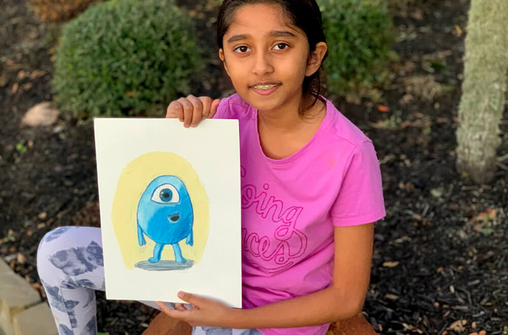 Character Study in Prisma colors by Prisha completed at the online art classes by Nimmy's Art in Katy, Texas