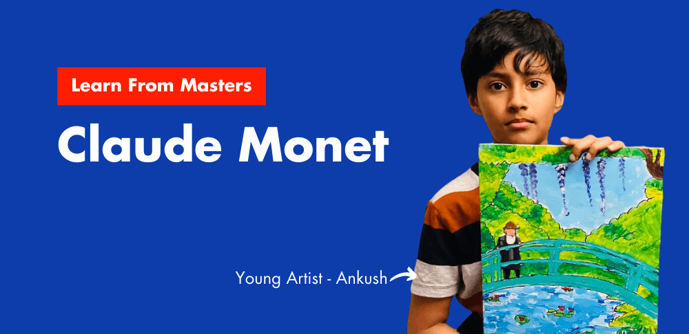 Cover image of Ankush with his Claude Monet artwork - The Japanese Footbridge from the online art classes at Nimmy's Art