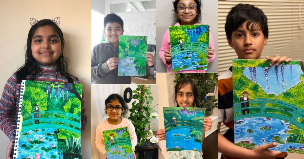 The Japanese Footbridge landscape painting by Claude Monet completed by students of NImmy's Art in the online art classes for kids in Katy, Texas