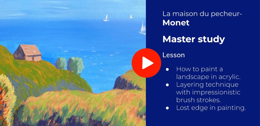la maison de pecheur - Monet master study online art class at Nimmy's Art Academy