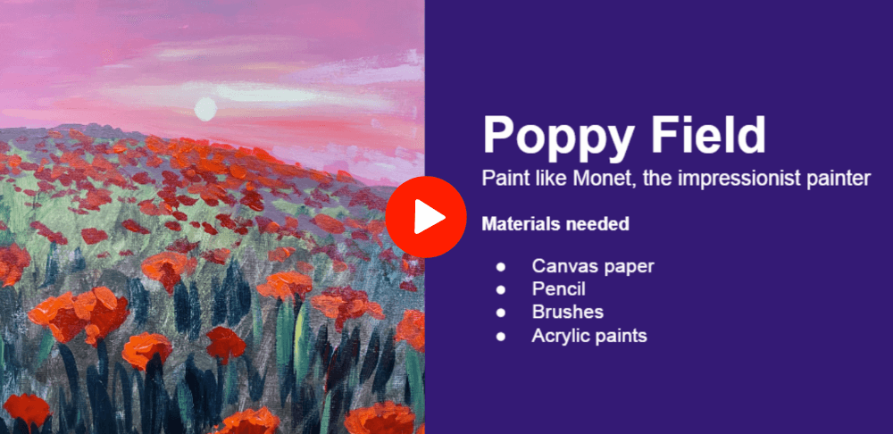 Poppy Field - Monet master study class at Nimmy's Art in Katy, Texas
