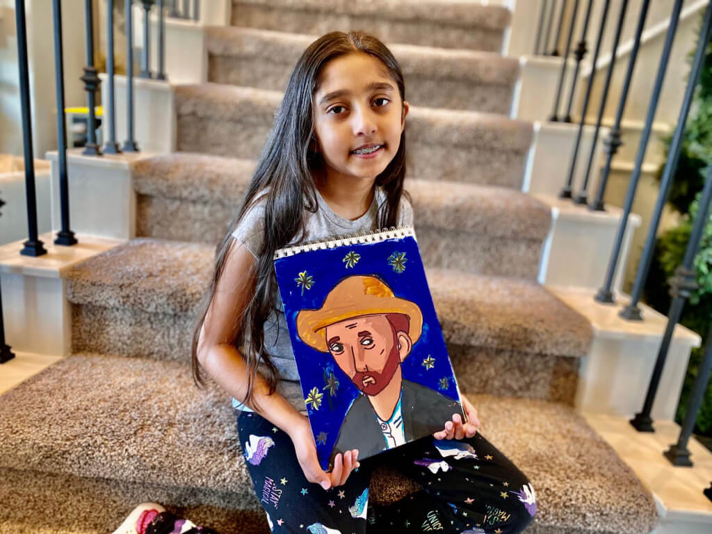 Prisha's Van Gogh Portrait painting in acrylic completed at Nimmy's Art online art classes