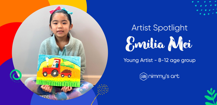 Cover image of Emilia with her oil pastel artwork completed at Nimmy's Art online art classes