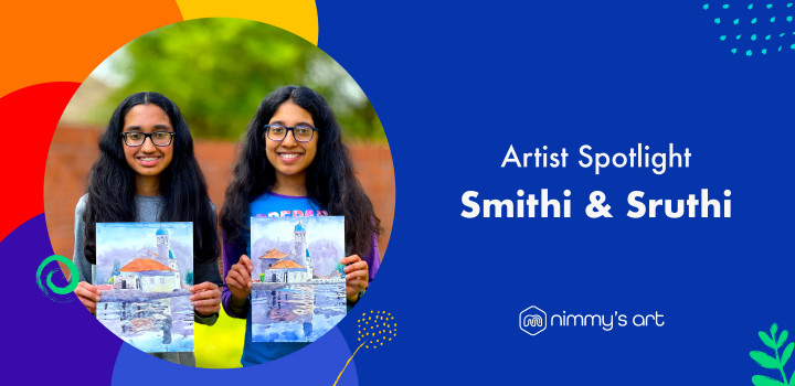 Smithi and Sruthi, first students who started learning art at Nimmy's Art in our spotlight.